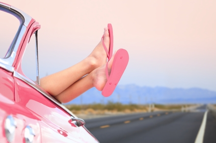 Freedom car travel concept - woman relaxing